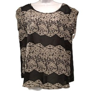 THE LIMITED Lace Print Sheer Black Top In Medium